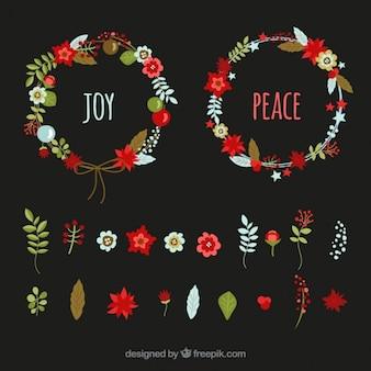 Set Weihnachtskränze mit verschiedenen Arten von Blumen