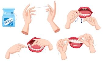 Set Zahnseide und wie man Illustration verwendet