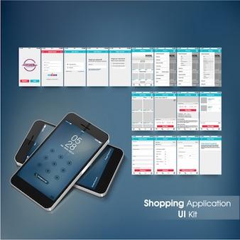 Shopping-Anwendung mit roten und blauen Details