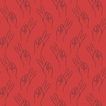 Sieg-Zeichen-Hand-Zeichnung-Vektor