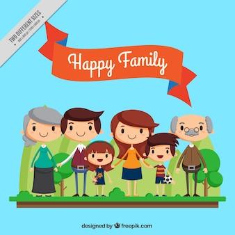 Siimpática und schöne vereinte Familie