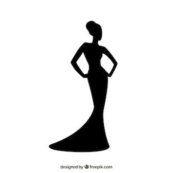 Silhouette der Frau mit eleganten Kleid
