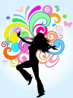Silhouette einer funky Frau auf einem hellen farbigen abstrakten Hintergrund