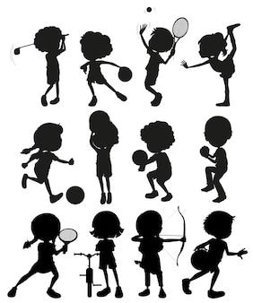 Silhouette Kinder spielen Sport