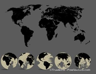 Silhouette Weltkarte und fünf Ansicht des Globus
