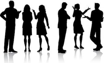 Silhouetten von Geschäftsleuten Gespräche mit