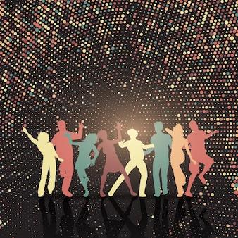 Silhouetten von Menschen tanzen auf einem Halbton Punkte Hintergrund