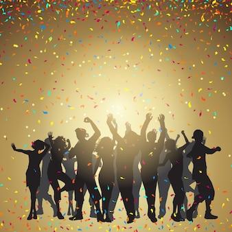 Silhouetten von Menschen tanzen auf einem Konfetti Hintergrund