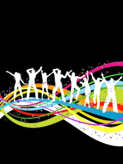 Silhouetten von Menschen tanzen auf einem Regenbogen farbigen abstrakten Hintergrund