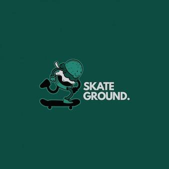 Skateboard-Logo auf einem grünen Hintergrund