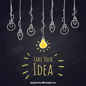 Sketchy hängenden Glühbirnen auf Tafel