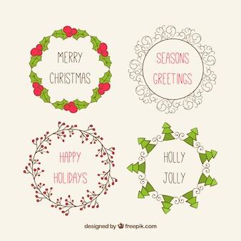 Sketchy Sammlung von Weihnachtskränze