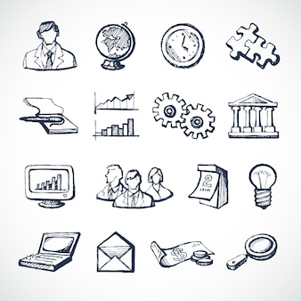 Skizze infografische Symbole gesetzt mit Globus Uhr Computer Puzzle Geld isoliert Vektor-Illustration