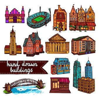 Skizze Stadt Gebäude gesetzt Farbe