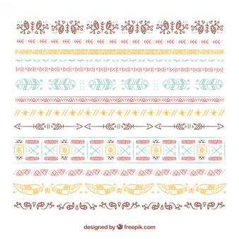 Skizzen farbige Boho Grenze Sammlung