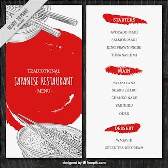 Skizzen japanisches Essen Menü-Vorlage