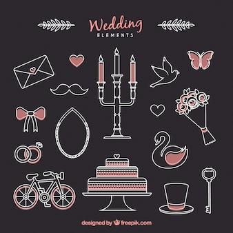 Skizzen niedlichen Accessoires für Hochzeitspaare