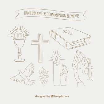 Skizzen pack von ersten Kommunion-Elementen