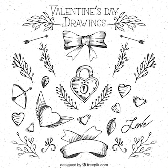 Skizzen Saint Valentin Tag-Elemente