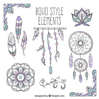 Skizzen Traumfänger und Boho-Elemente