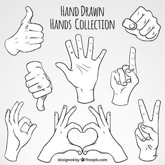 Skizzen von Gesten mit den Händen festgelegt