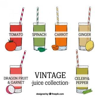 Skizzen von köstlichen Gemüsesäfte im Vintage-Stil