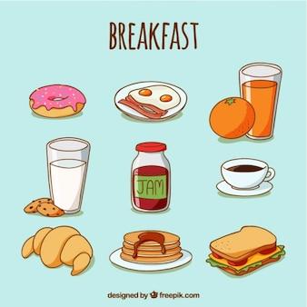Skizzen von köstlichen Speisen zum Frühstück