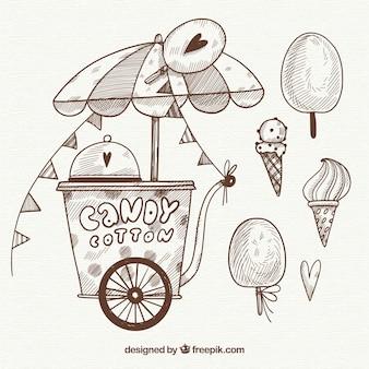 Skizzenhafte Zuckerwatte und Süßigkeiten
