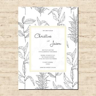 Skizziert Filialen Hochzeitseinladung