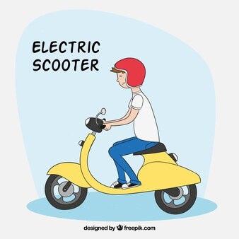 Smiley Mann mit Elektroroller