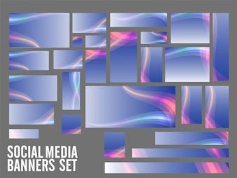 Social Media Banner mit bunten Wellen gesetzt.