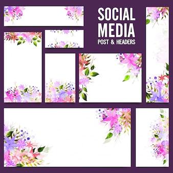 Social Media Post und Headers mit schönen Blumen.