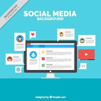 Social-Networking-Hintergrund mit einem Computer