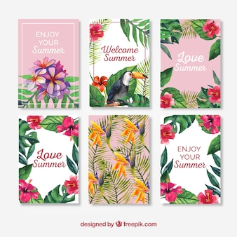 Sommer Aquarell Karten Sammlung