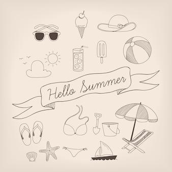 Sommer-Elemente-Sammlung