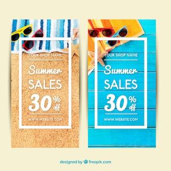 Sommer Handtuch Verkauf Banner und Sonnenbrille