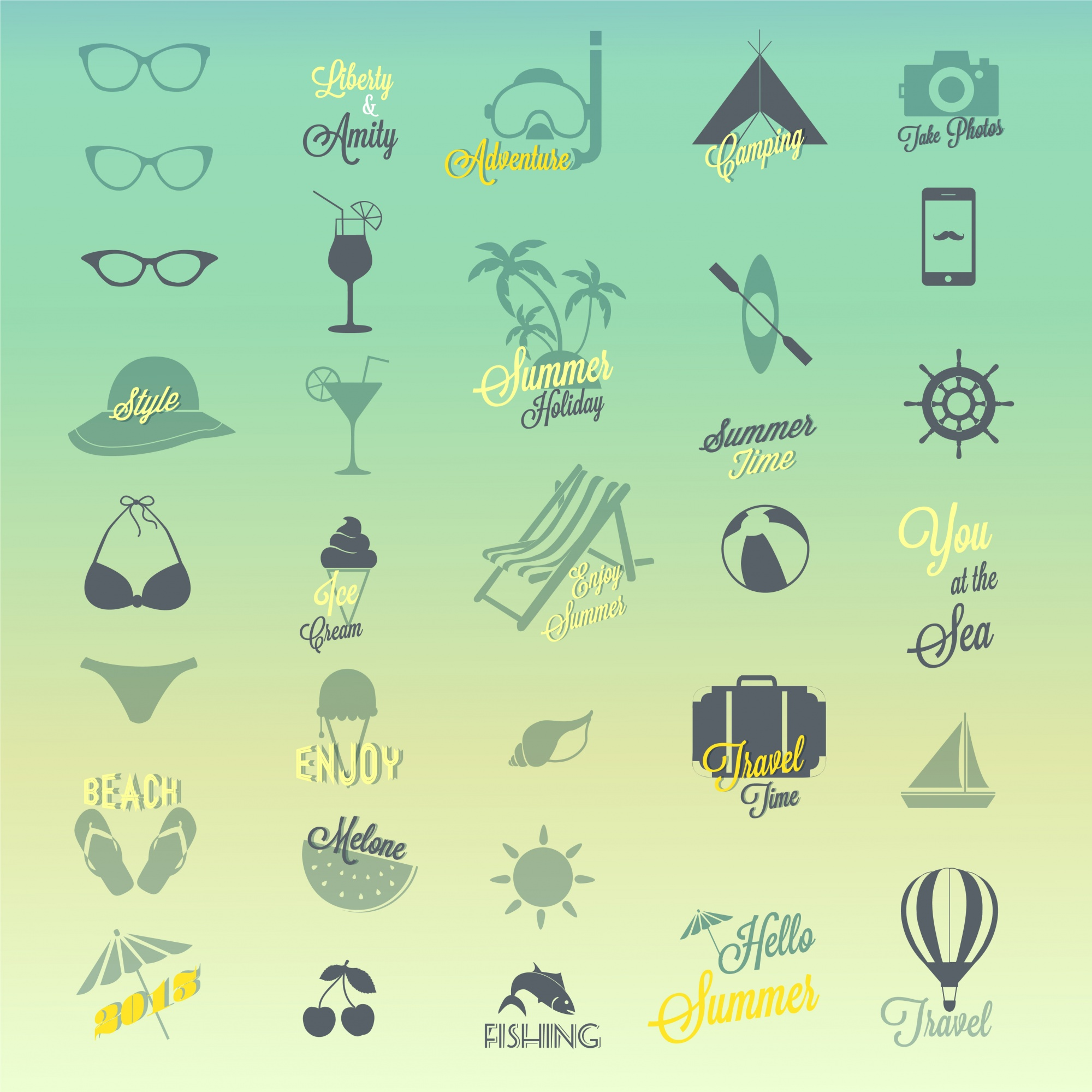 Sommer-Icon-Design-Set
