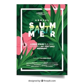 Sommer-Party-Broschüre mit Blumen