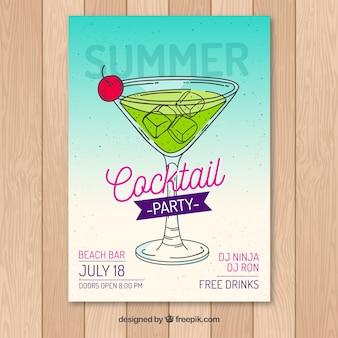 Sommer-Party-Broschüre mit handgezeichnetem Cocktail