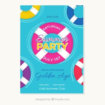 Sommer-Party Einladung mit bunten Schwimmern