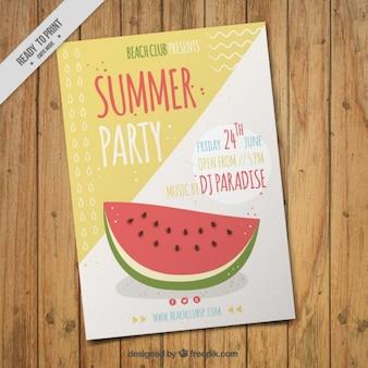 Sommer-Party-Flyer mit einer Hand gezeichnet Wassermelone