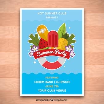 Sommer-Partyplakat Schwimmbeckenentwurf