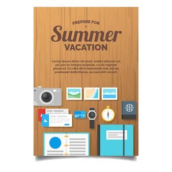 Sommerkartenvorlage mit dekorativen Gegenständen