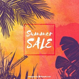 Sommerverkauf mit orangefarbenem Hintergrund
