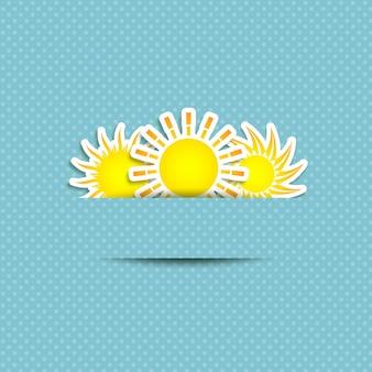 Sonne Symbole auf einem blauen Polka Dot Hintergrund