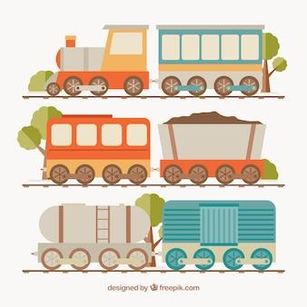 Sortiment von farbigen Zügen in flachem Design