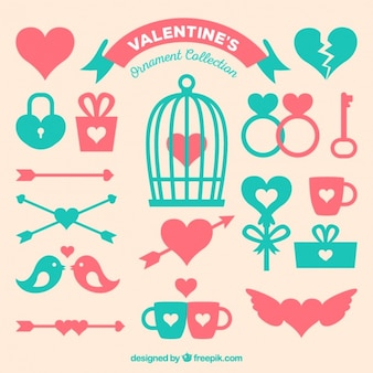 Sortiment von Flach Valentinstag Dekorationen