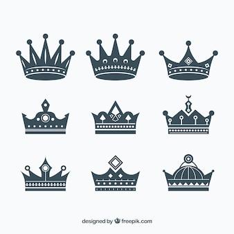 Sortiment von flachen Kronen mit großartigen Designs
