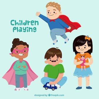 Sortiment von fröhlichen Kindern spielen