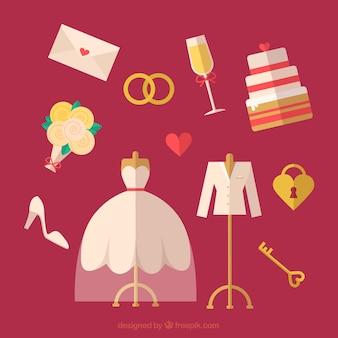 Sortiment von Hochzeitselemente in flachem Design